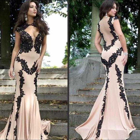 Jovani Dresses | Black And Nude Lace Prom Dress | Poshmark